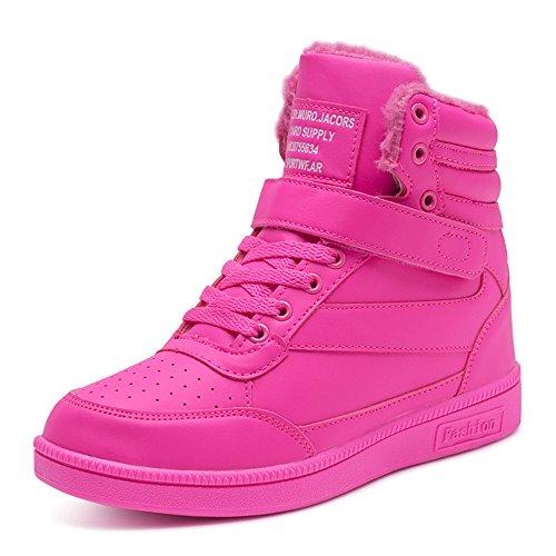 BAINASIQI Damen Sneakers High Top Sportschuhe Wedges Keilabsatz Schuhe Laufschuhe Atmungsaktive Freizeitschuhe Turnschuhe (EU 38, Rose Rot-02)