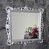 Artissimo Specchio da Parete Barocco Argento Lucido Specchio cosmetico Antico Specchio da Bagno 38 X 36