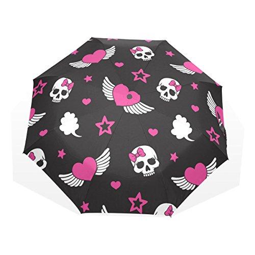 GUKENQ - Paraguas de Viaje con diseño de Corazones y Calaveras de azúcar, Ligero, antiUV, para Hombre, Mujer, niños, Resistente al Viento, Plegable, Paraguas Compacto