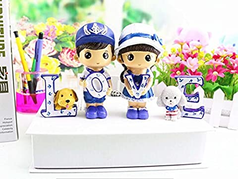 Cute Cartoon Dolls And Dog Ornements Creative LOVE Resin Doll Artisanale Romantic Couple Décorations de bureau Cadeaux d'anniversaire , a set of 4 prices