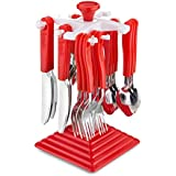 Bluzon Premium Cutlery Set With Stand Made From Stainless Steel And ABS Plastic - Red (Set Of 24 Pcs.)