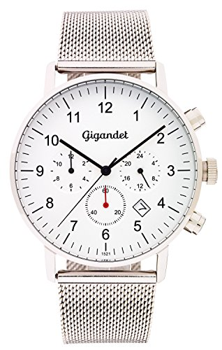 Gigandet Quartz Men's Quartz Watch with Milanese Minimalism II Dual Time Analog Date Stainless Steel Bracelet Silver G21 005