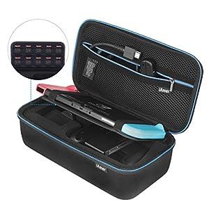 iAmer Tasche für Nintendo Switch ,  schützendes Reiseetui für Nintendo Switch Konsole, Ladegerät (UK oder EU), Joy-Con L&R, Griffe, Joy-Con Gurt und HDMI-Kabel mit 10 Spieleetuis