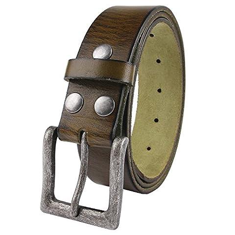 Senmi Mens 100% Genuine Full Grain Leather Belt One Piece Snap On Belt Strap Classic Vintage Style 1.5