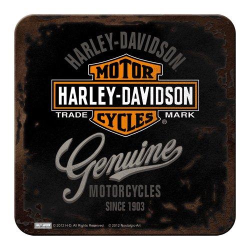 Nostalgic-Art 46101 Harley-Davidson - Genuine | Retro Metall-Untersetzer | Tassen-Untersetzer | mit Kork-Unterseite -
