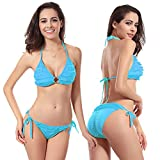 Honestyi Sexy Frauen Bikini Set Bademode Push Up Gepolsterter BH Badeanzug Beachwear DM053 Frauen Bikini Zweiteiliger Badeanzug (mit Brustpolster)(Blau,S)