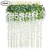 Lot DE 12 Guirlandes de Fleurs de glycine Artificielle Fleurs suspensions Décoration Fête Maison Mariage 110cm (Blanc)