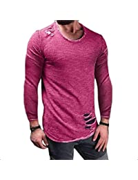 89d9c0f2637 Vinyst Mens Pullover Popular Plus Size Ripped-Holes Polo Top Tshirt