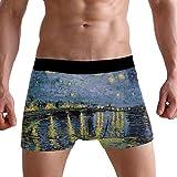 Bennigiry Herren Van Gogh's Starry Night Pattern Breathable Boxer Briefs Male Classic Fit Underwear S M L XL