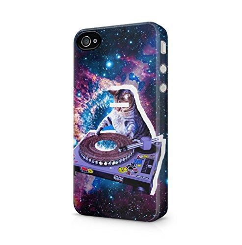 Maceste Cute Cat DJ Felix Stars Galaxy Space Kompatibel mit iPhone 4 / iPhone 4S SnapOn Hard Plastic Phone Protective Fall Handyhülle Case Cover