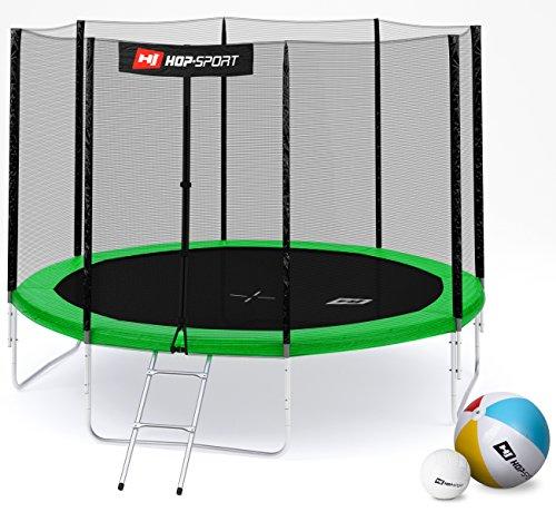 Hop-Sport Gartentrampolin 244, 305, 366, 430, 490 cm Komplettset inkl. Außennetz Leiter Wetterplane Erdanker Grün (305 cm 4 Standbeine)