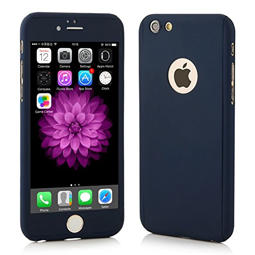 SDO™ Protective Slim Fit 360 Hybrid Body Cover Case with Tempered Glass for Apple iPhone 5/5S (Navy Blue)