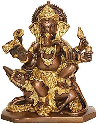 Lord Ganesha Seated on Rat (In Brown and Golden Hues) - Brass Statue