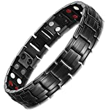 Best Magnetic Bracelets - Rainso Mens Black Titanium Steel Double Row Magnetic Review