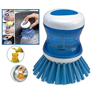 StopHere Dish / Washbasin Cleaning Brush With Liquid Soap Dispenser ( Set Of 2 )