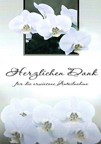 Trauer Danksagungskarten Trauerkarten ohne Innentext Motiv weiße Orchidee 10 Klappkarten DIN A6 mit weißen Umschlägen (K125)
