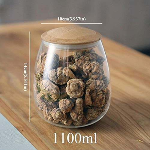 KKRIIS Creative Mason Jar Spices Borosilicate Glass Jars with Lid Sealed Kitchen Storage Bottle Coffee Sugar Bulk Container Candy Cans,1100mlB162