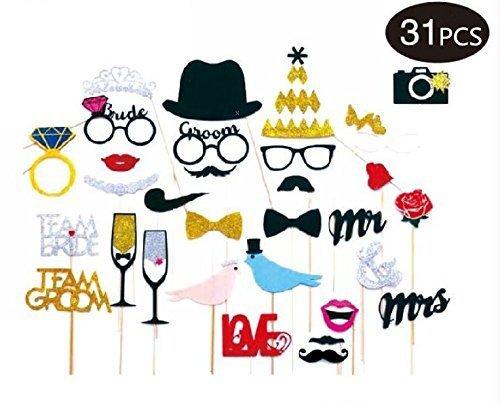 Booth Requisiten - Set mit Tafel Stil Zeichen mit Ständer perfekt für Hochzeiten, Geburtstage, Karten Foto Requisiten verstreut Gold und Silber Papier Festival Party lustige Requisiten ()