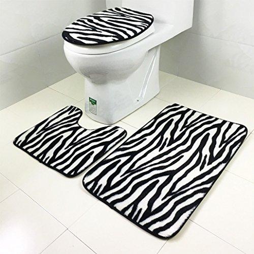 Zebra Impreso tapa inodoro alfombra mat piso moqueta