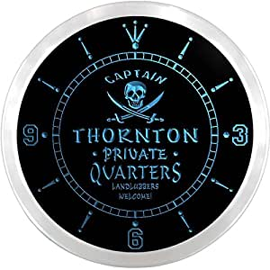 ncpw2263-b THORNTON Private Quarters Pirate Man Cave Bar Beer LED Neon Sign Wall Clock