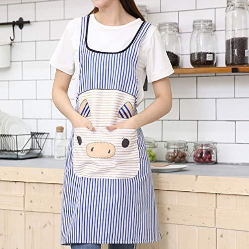 Einstellbare Schürze mit Tasche, Multifunktions-Latzschürze, gestreifte Küchenschürze zum Kochen, Grillen und Backen (83 × 58 cm),Blau -