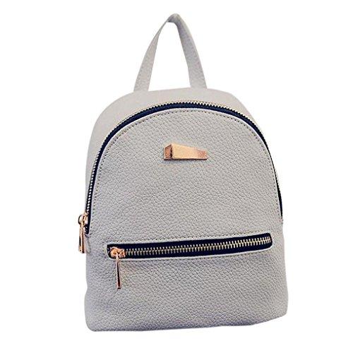 Imagen de goodsatar de las mujeres nuevo cuero artificial  bolso de viaje  escolar 19x17x12cm  gris, un tamaño