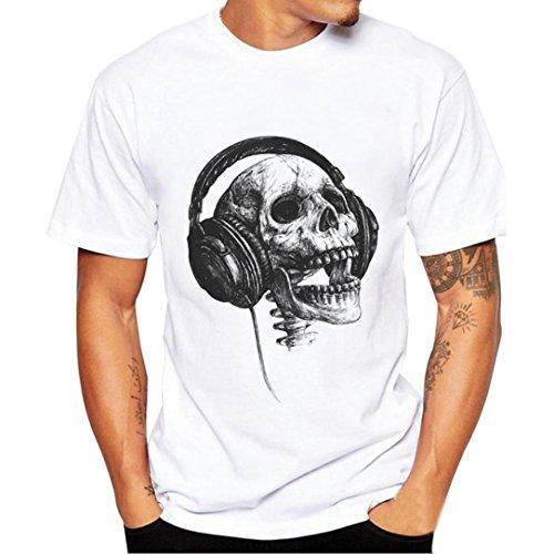 Preisvergleich Produktbild Herren Bluse,feiXIANG Herren Mode Drucken T-shirt (S, Weiß)