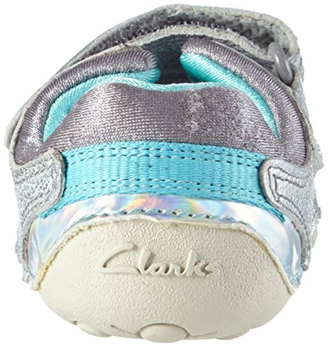 Clarks Kids Little Leap, Baskets Basses fille Gris (Metallic Combi)