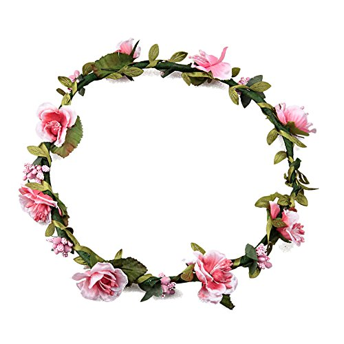 Butterme Damen Mädchen Blumen Stirnband Haarband Kopfband Krone Boho Blumenhaar Dekoration für Garland Wedding Festival Party Travel (Rosa)