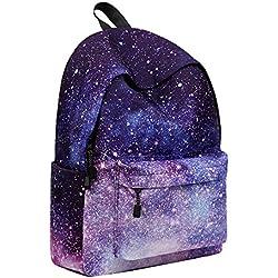 AMUSTER Sac à Dos en Toile Unisexe de Voyage de Toile de modèle de Galaxie Sac d'école (A)