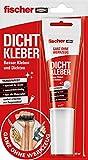 Fischer 545863 Dicht, 1x Kleb-und Dichtstoff, 80ml, speziell für Innenbereich, transparent, wasserbeständig, Rot, Weiß