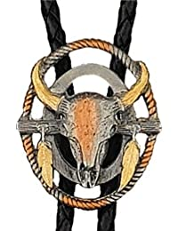 Bolo tie cravate Or 14Kt et Argent country Arizona Ranch skull Bull - Made in USA - BT1235