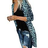 UJUNAOR Damen Leopard-Drucken Langarm Mantel Lässiger Herbst Outwear Strickjacke(Blau,EU 3XL/CN 4XL)