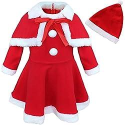 iEFiEL Vestido Princesa con Capa Gorro Disfraces de Navidad Calentito Conjunto de Dos Piezas para Bebé Niña Rojo 24 Meses