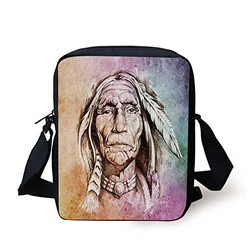 Native American,Portrait of Tribal Chief with Ethnic Feather Band Watercolor Style Image Decorative,Multicolor Print Kids Crossbody Messenger Bag Purse