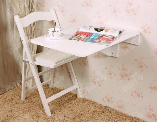 SoBuy® Mesa plegable de pared, mesa de cocina, mueble infantil, mesa de pared 70x45cm FWT04-W,