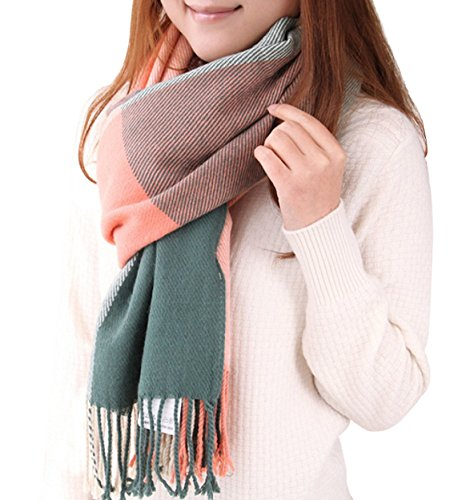Donna annata sciarpa tartan pashmina scialle di cachemire plaid griglia