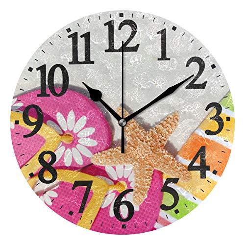 Ahomy Seestern und Tropische Seerose Blume Ziffern Wanduhr 24cm rund Uhr geräuschlos Nicht tickend batteriebetrieben leicht ablesbar für Home Office Schule (Tropische Seerosen)