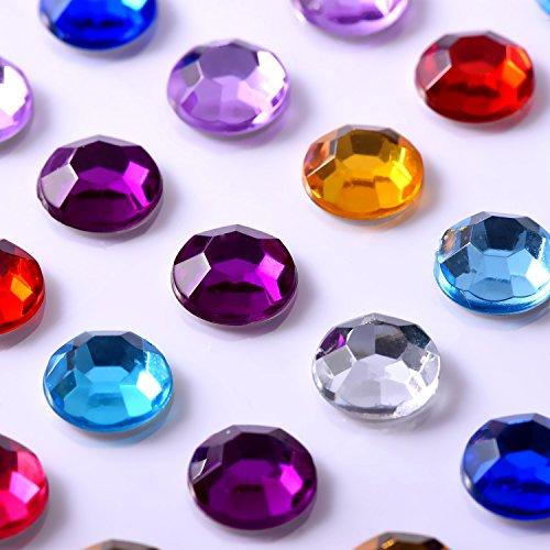 9 Fogli strass Autoadesivo Adesivi Cristallo Gemma Fogli per Fai Da Te Bricolage Decorazione, Colori Assortiti, Quadrato, Rotondo e a Forma di Cuore - 2