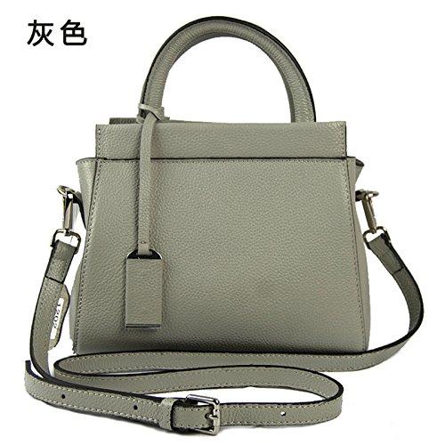 Mefly Donna borsette in cuoio e nuovi prodotti europei di colore solido Litchi Pelle spalla singolo croce obliqua Fashion verde gray