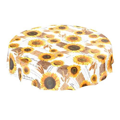 Toile cirée - Tournesols - Nappe d'été, jaune et blanche - Taille au choix, Toile cirée, Mit Muster, Rund 140cm