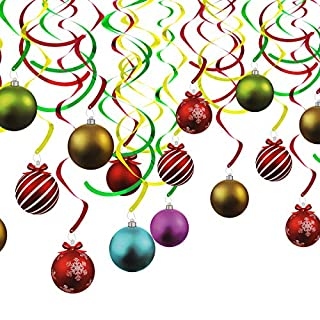 ANPHSIN 30 Count Christmas Hanging Swirls Decoration- Cute Xmas Party Flat Ball Swirl Decor for Window Porch at Home Mall and Office