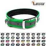 BioThane Halsband mit Dornschnalle / gepolstert / 25 mm breit / 4 Längen [38-46 cm] / 49 Farben [Neon-Grün-Reflex]