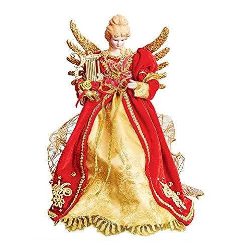 Décoration pour sapin de Noël ange–Rouge & or ange avec harpe–Ailes en métal doré