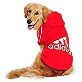 DULEE adidog Hund Warme Hoodies Mantel Jumpsuit Haustier Kleidung Jacke Pullover Baumwolle Pullover Outwear Rot 4XL