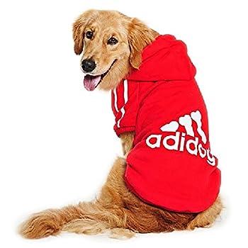 DULEE Adidog Winter Hoodie de chien Sweater Warm Shirt Manteau d'animal familier pour petit et grand chien, rouge, Taille 8XL