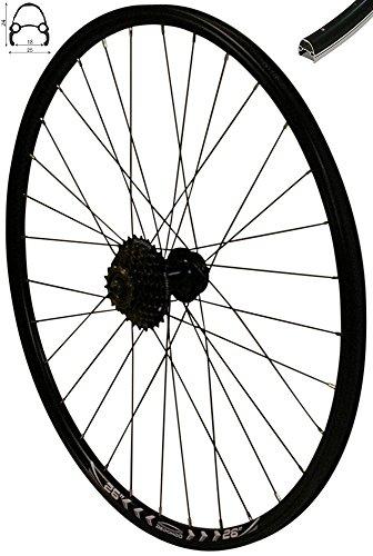 Redondo 26 Zoll Hinterrad Laufrad Felge Schwarz 6-Lo Disc + 7-Fach Shimano Kranz -
