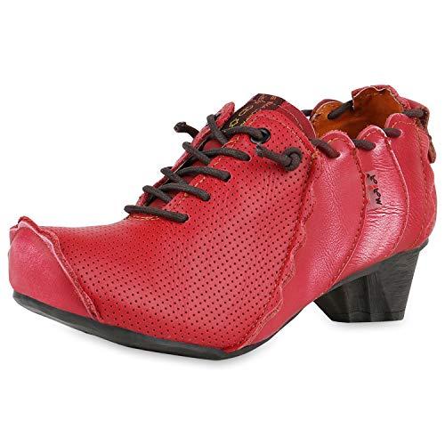 TMA MAIA Damen Stiefeletten Ankle Boots Leder Vintage Schuhe 174925 Rot 38 Scarpe Vita - Vintage Rock Anzug