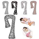 Seitenschläferkissen Schwangerschaftskissen Stillkissen Lagerungskissen ca.134x80x65cm Typ 7 (Grau / Blumen Nr. 020)