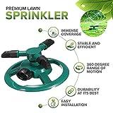 S&G - Irrigatore Automatico da Giardino, 3 ugelli, irrigatore Automatico per Prato, Rotazione a 360°, Sistema di irrigazione con Ampia Area con Design a Prova di perdite